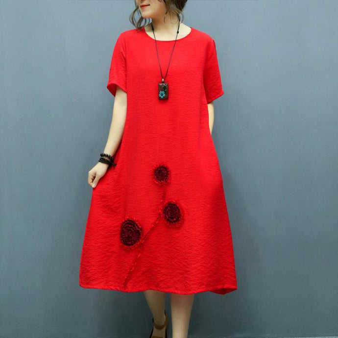 Modern o neck Appliques linen dresses pattern red Dress summer