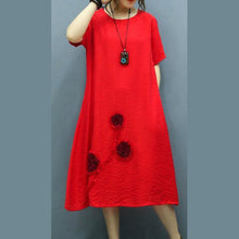 Laden Sie das Bild in den Galerie-Viewer, Modern o neck Appliques linen dresses pattern red Dress summer