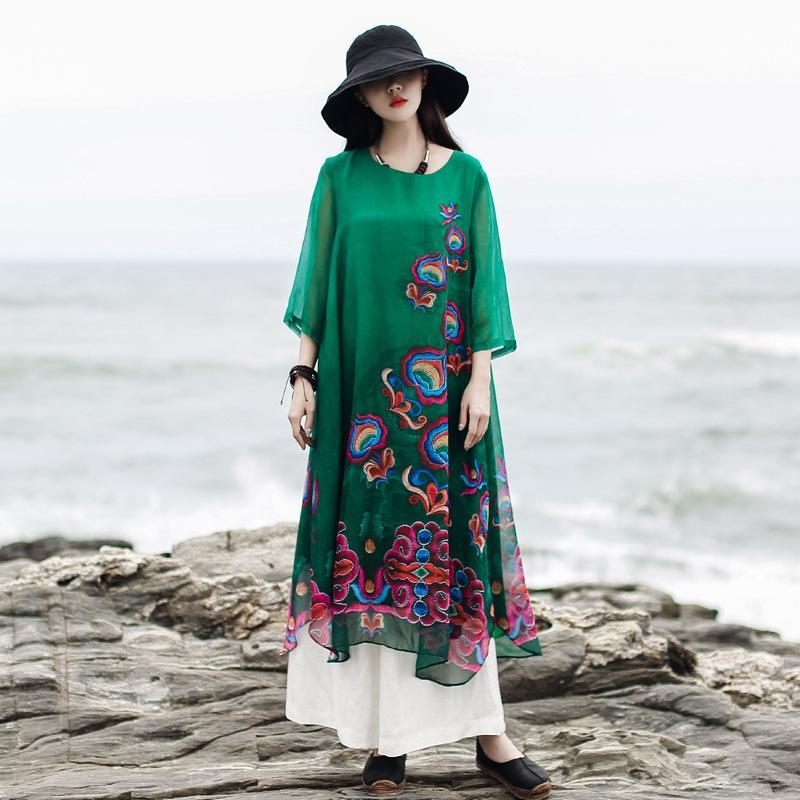 Modern o neck asymmetric false two pieces outfit Women green embroidery print Maxi Dresses Summer