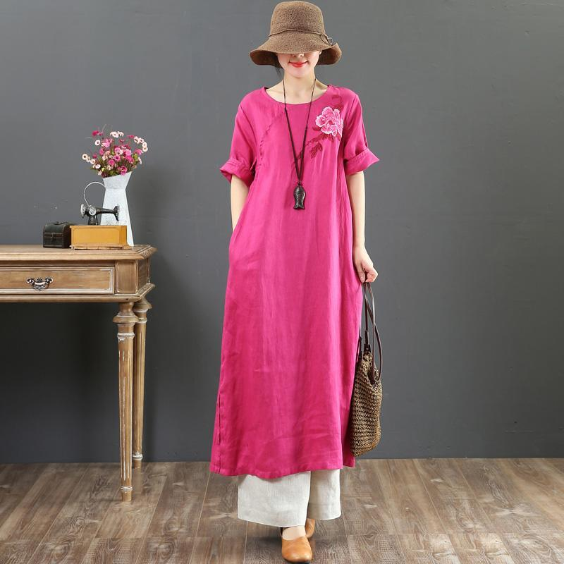 Modern o neck embroidery linen dress Women Inspiration rose Art Dresses Summer