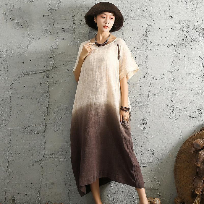 Modern o neck linen cotton dresses Neckline short sleeve khaki Dresses patchwork color