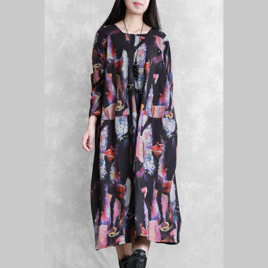 Modern o neck pockets cotton dress Work Outfits print Maxi Dresses
