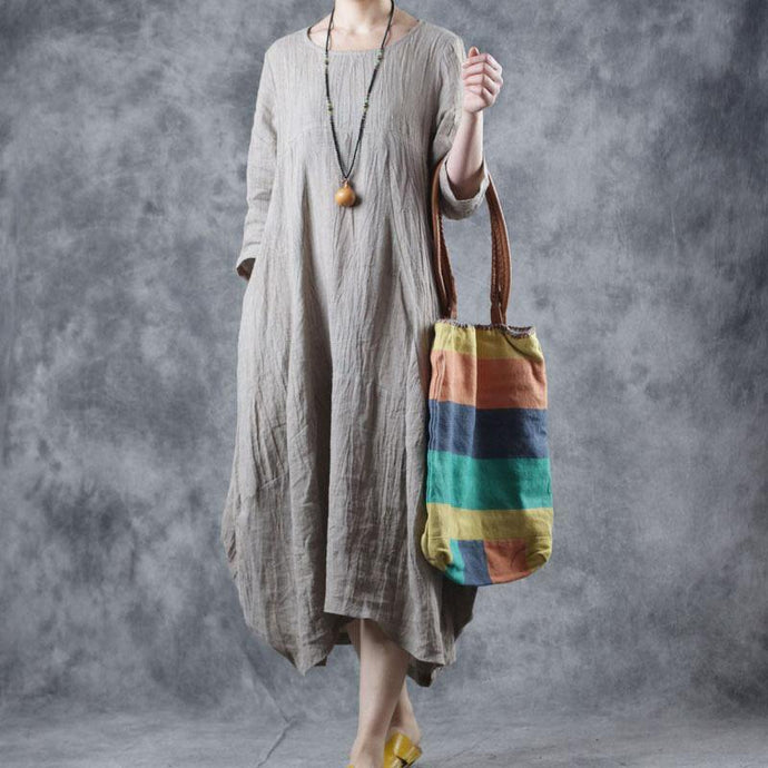 Modern o neck pockets wrinkled linen clothes For Women Sewing nude Dresses fall
