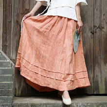 Laden Sie das Bild in den Galerie-Viewer, Modern patchwork linen clothes For Women Fabrics red skirt fall