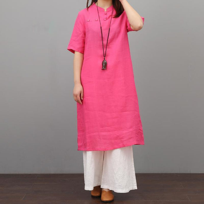 Modern short sleeve linen clothes Tunic Tops rose Dresses summer