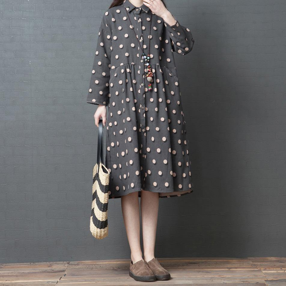 Modern spring Cotton quilting clothes Fashion Work Outfits gray dotted loose patchwork shirt Dresses
