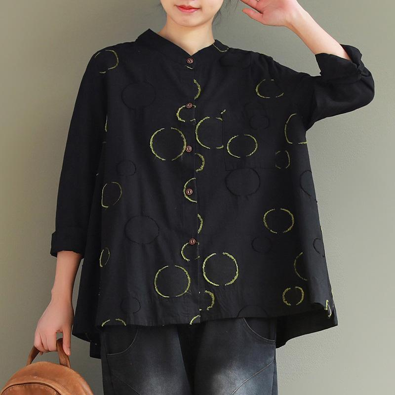 Modern stand collar Button Down linen shirts women Vintage Gifts black dotted loose shirt