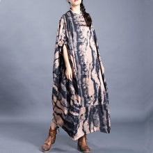 Load image into Gallery viewer, Modern stand collar asymmetric tunic pattern Tutorials black print long Dress