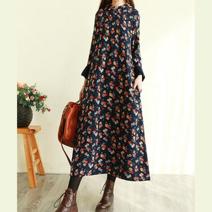 Modern stand collar cotton long sleeve tunic dress Work Outfits navy floral Maxi Dresses