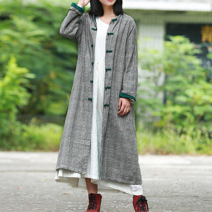 Modern stand collar top quality trench coat gray plaid Art jackets fall