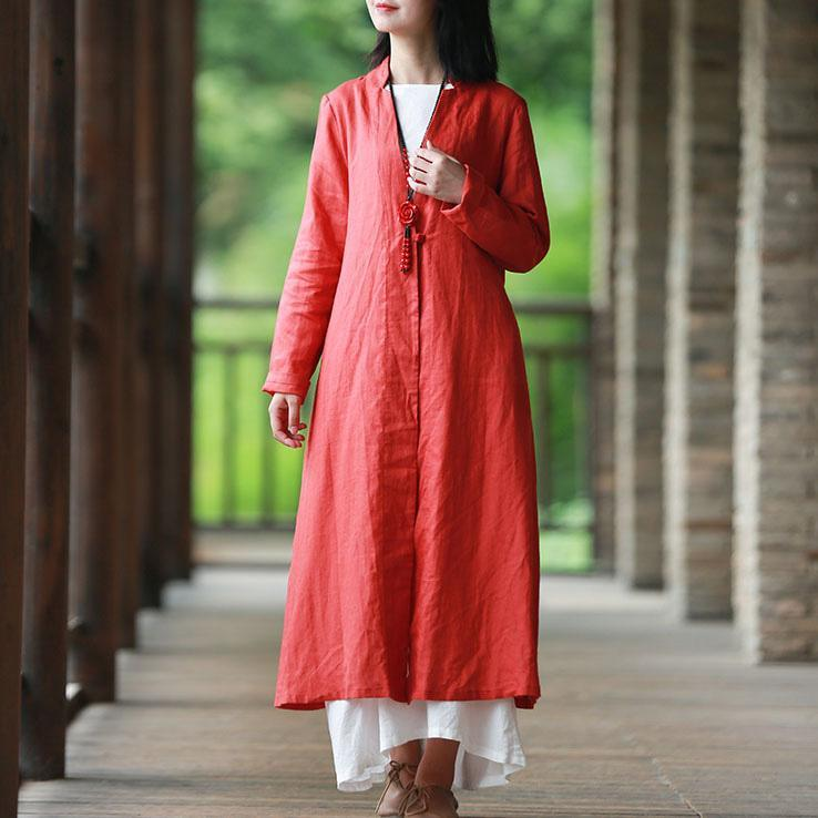 Modern v neck Fine clothes red loose coats fall