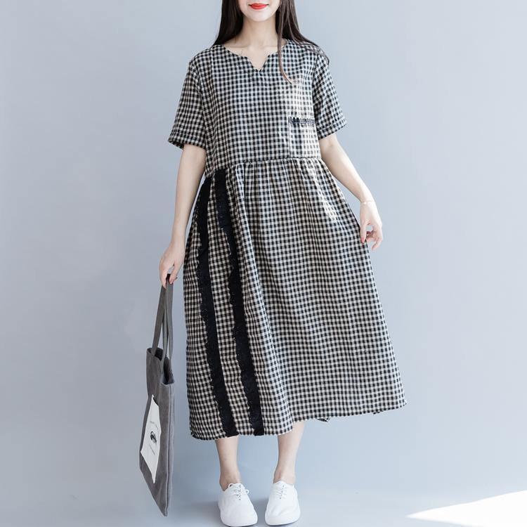 Modern v neck lace cotton clothes Neckline black plaid Traveling Dresses summer