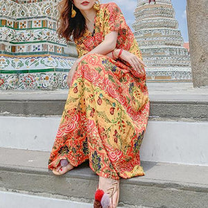 Modern v neck pockets summer quilting dresses design floral Kaftan Dress