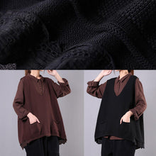 Load image into Gallery viewer, Modern v neck sleeveless cotton spring clothes For Women black tops