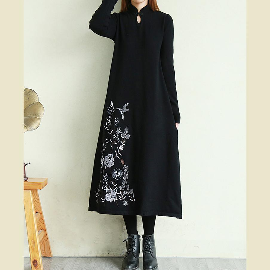 Modern winter cotton stand collar clothes Women Fabrics black Robe Dress