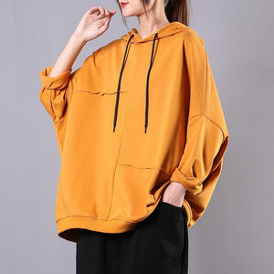 Modern yellow cotton Blouse hooded patchwork cotton blouse