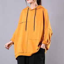 Load image into Gallery viewer, Modern yellow cotton Blouse hooded patchwork cotton blouse