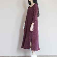 Load image into Gallery viewer, Mulberry Jacquard linen summer dress top quality summer dresses long plus size linen clothing