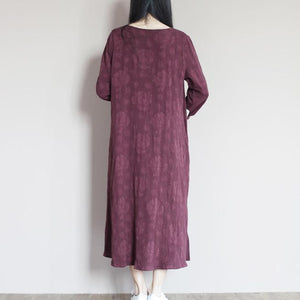 Mulberry Jacquard linen summer dress top quality summer dresses long plus size linen clothing