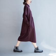 Laden Sie das Bild in den Galerie-Viewer, Mulberry oversize cotton dresses long sleeve maxi dress gowns