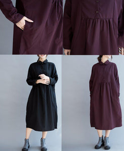 Mulberry oversize cotton dresses long sleeve maxi dress gowns