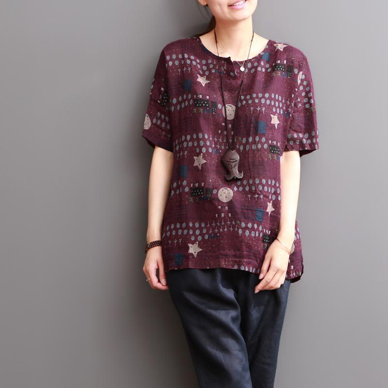Mulberry star print linen blouse women shirt top