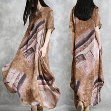 Laden Sie das Bild in den Galerie-Viewer, Muslim brown print clothes For Women plus size Wardrobes v neck asymmetric Maxi Summer Dress