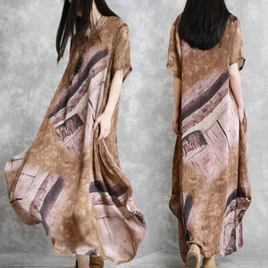Muslim brown print clothes For Women plus size Wardrobes v neck asymmetric Maxi Summer Dress