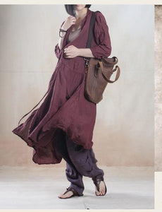 My dream - burgundy baggy long summer cardigan linen maxi coat linen sundress Unique design