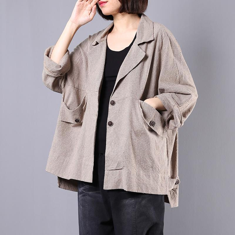 Natural Batwing Sleeve cotton linen outwear women khaki plaid cotton coats fall
