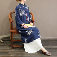 Load image into Gallery viewer, Natural Chinese Button cotton stand collardresses Wardrobes red prints cotton Dress