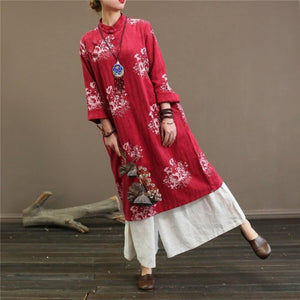Natural Chinese Button cotton stand collardresses Wardrobes red prints cotton Dress