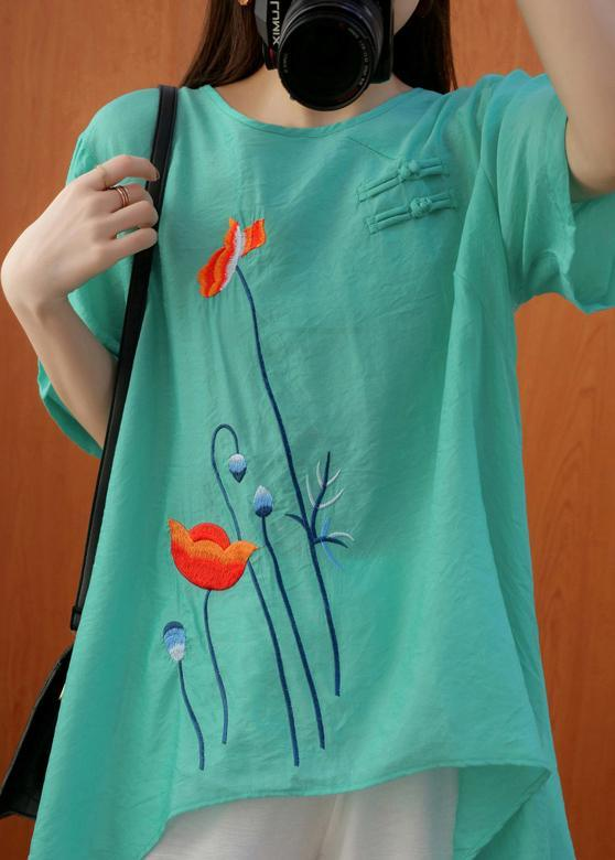 Natural Embroidery Summer Blouses For Women Green Shirt