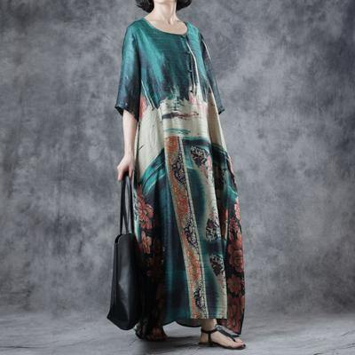 Natural blended Wardrobes Indian Summer Vintage Printed Half Sleeve Dress