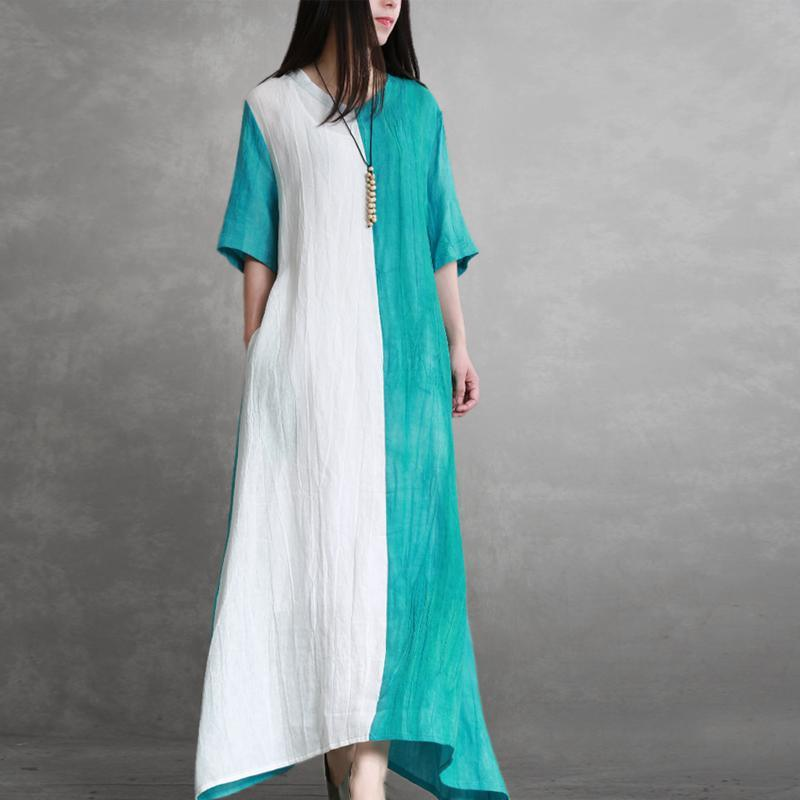 Natural blue white linen dresses o neck patchwork tie waist linen robes summer Dresses