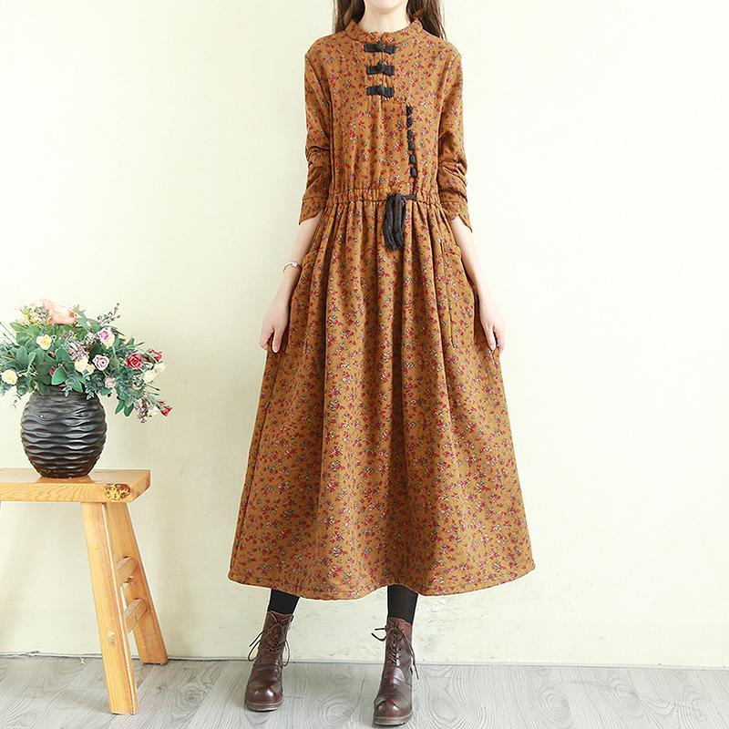 Natural brown print linen dress stand collar patchwork Robe fall Dress