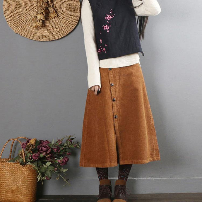 Natural chocolate Cotton quilting skirt A line skirts Plus Size skirt