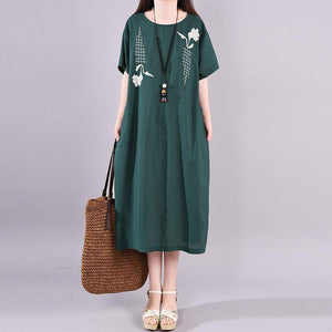 Natural clothes Indian Cotton Linen Embroidery Round Neck Dress