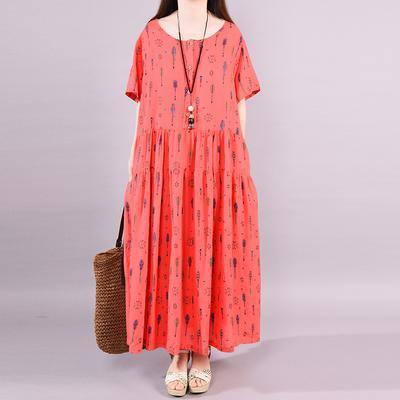 Natural cotton clothes Omychic Arrow Printed Casual Summer Elegant Maxi Dress