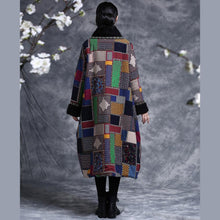 Load image into Gallery viewer, Natural cotton dresses Plus Size V neck vintage Wardrobes Plaid Dress