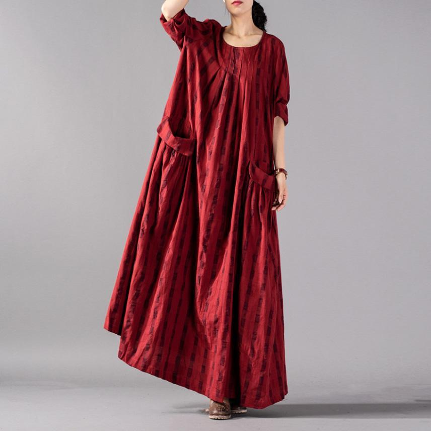 Natural cotton linen clothes For Women plus size long sleeve Shape red striped  Love Dress spring