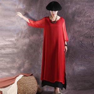 Natural false two pieces silk clothes Wardrobes red side open long Dress summer