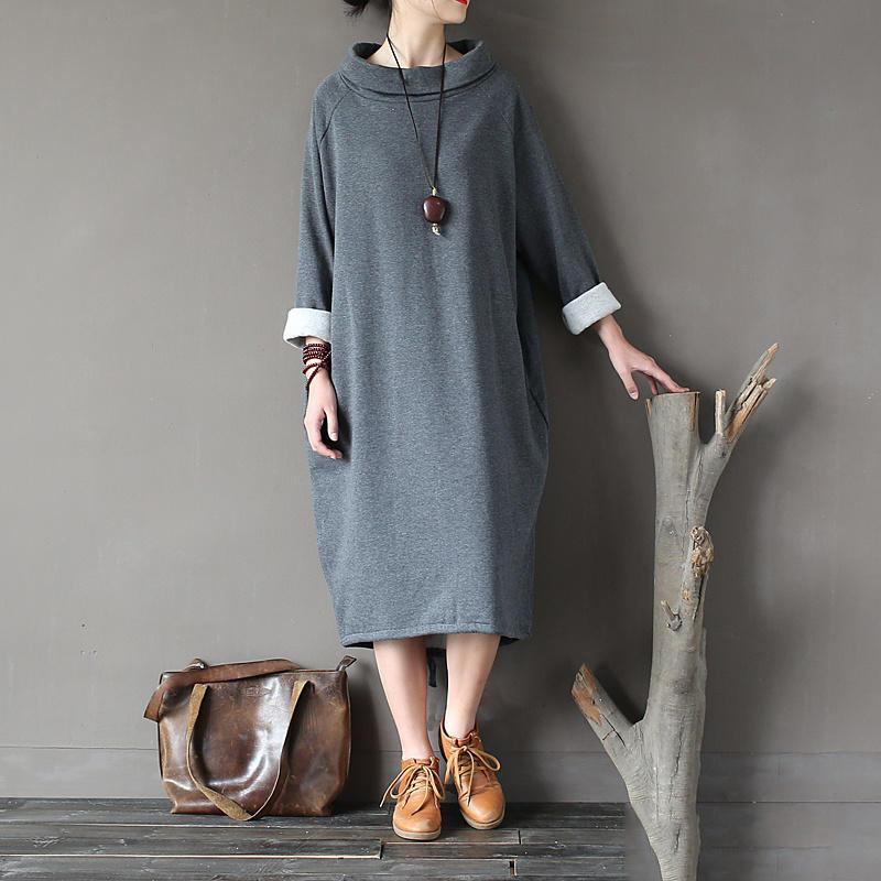 Natural gray cotton quilting clothes Organic high neck patchwork Dress