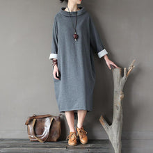 Load image into Gallery viewer, Natural gray cotton quilting clothes Organic high neck patchwork Dress