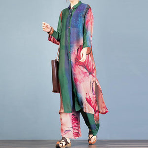 Natural green print lapel side open long cardigan and elastic waist wide leg pants