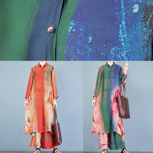 Load image into Gallery viewer, Natural green print lapel side open long cardigan and elastic waist wide leg pants