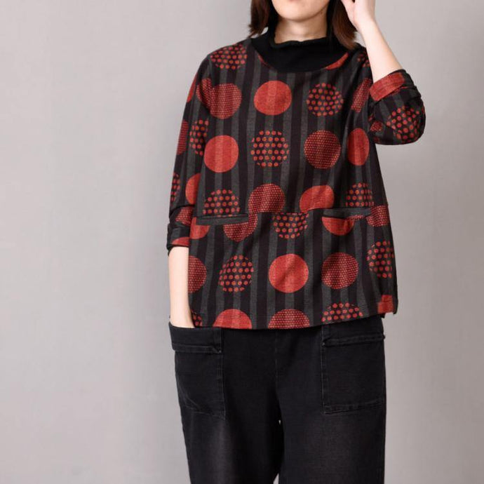 Natural high neck pockets cotton box top Inspiration red dotted shirts
