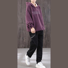 Load image into Gallery viewer, Natural hooded Batwing Sleeve Blouse Sewing purple tops