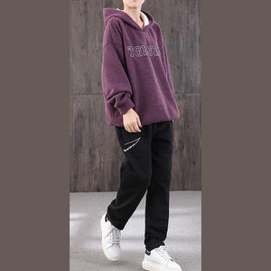 Natural hooded Batwing Sleeve Blouse Sewing purple tops