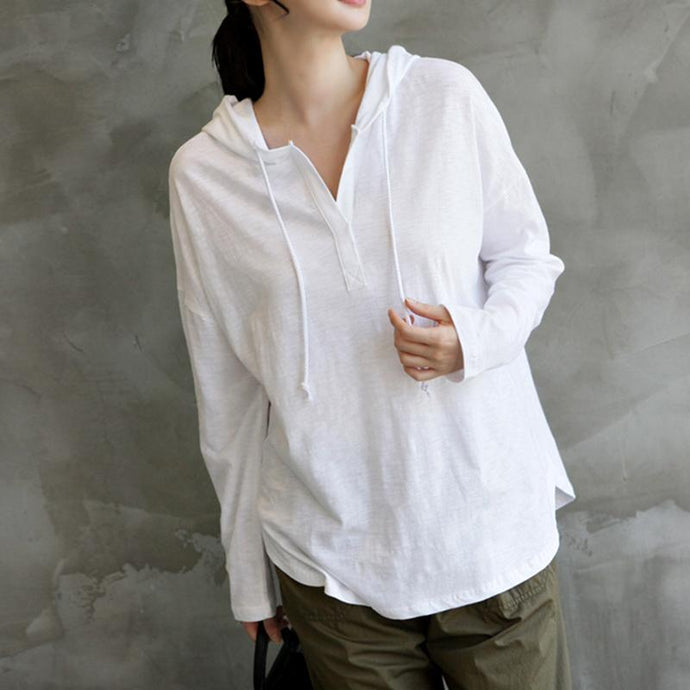 Natural hooded cotton fall tops women blouses Photography white shirt